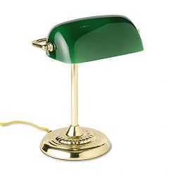 Traditional Incandescent Banker's Lamp Green Glass Shade Brass Base 14 Inches (LEDL557BR)