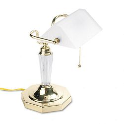 Incandescent Banker's Lamp Glass Shade Brass Base Acrylic Arm 14 Inches (LEDL658FR)