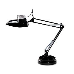 Full Spectrum Magnifier Desk Lamp Black 30 Inches High (LEDL9087)