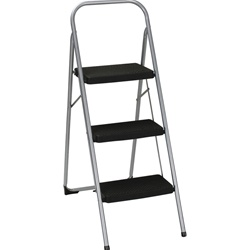 Three-Step Big Step Folding Step Stool 200-lb. 17 34wx28dx45 58h Light Gray (CSC11408PBLD1)
