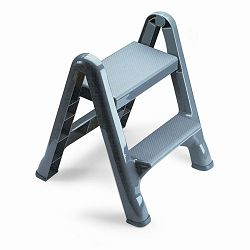 Two-Step Folding Plastic Step Stool 300-lb. Duty Rating Dark Gray (RCP420903CYLND)