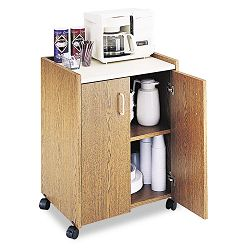 Mobile Refreshment Center 1-Shelf 23w x 18d x 31h Medium OakWhite (SAF8953MO)