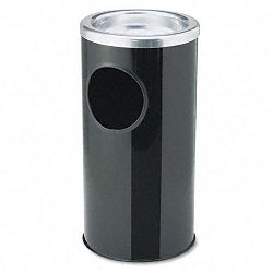 Combination Sand UrnWaste Receptacle Round Steel BlackChrome (EXC112BLK)