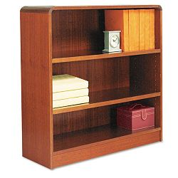 Radius Corner Wood Veneer Bookcase 3-Shelf 35-38 x 11-34 x 36 Medium Cherry (ALEBCR33636MC)