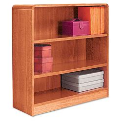 Radius Corner Wood Veneer Bookcase 3-Shelf 35-38w x 11-34d x 36h Medium Oak (ALEBCR33636MO)
