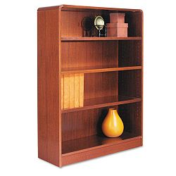 Radius Corner Wood Veneer Bookcase 4-Shelf 35-38 x 11-34 x 48 Medium Cherry (ALEBCR44836MC)