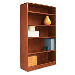 Radius Corner Wood Veneer Bookcase 5-Shelf 35-38 x 11-34 x 60 Medium Cherry (ALEBCR56036MC)