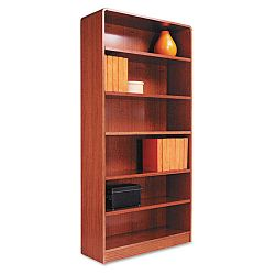 Radius Corner Wood Veneer Bookcase 6-Shelf 35-38w x 11-34d x 72h Medium Oak (ALEBCR67236MO)