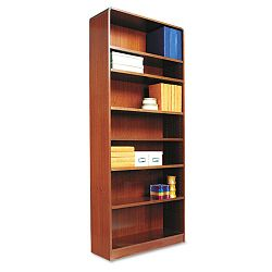 Radius Corner Wood Veneer Bookcase 7-Shelf 35-38 x 11-34 x 84 Medium Cherry (ALEBCR78436MC)