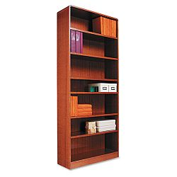Radius Corner Bookcase Wood Veneer 7-Shelf 35-38 x 11-34 x 84 Medium Oak (ALEBCR78436MO)
