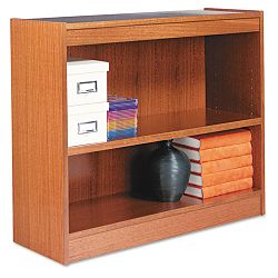 Square Corner Wood Veneer Bookcase 2-Shelf 35-38w x 11-34d x 30h Medium Oak (ALEBCS23036MO)