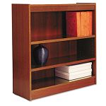Square Corner Wood Veneer Bookcase 3-Shelf 35-38 x 11-34 x 36 Medium Cherry (ALEBCS33636MC)