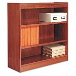 Square Corner Wood Veneer Bookcase 3-Shelf 35-38w x 11-34d x 36h Medium Oak (ALEBCS33636MO)