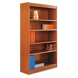 Square Corner Wood Veneer Bookcase 5-Shelf 35-38 x 11-34 x 60 Medium Cherry (ALEBCS56036MC)