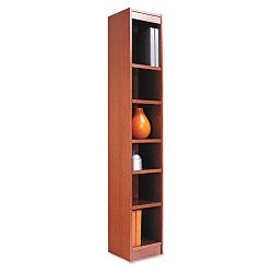 Narrow Profile Bookcase Wood Veneer 6-Shelf 12w x 12d x 72h Medium Oak (ALEBCS67212MO)
