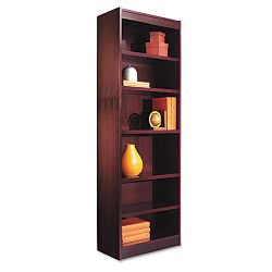 Narrow Profile Bookcase Wood Veneer 6-Shelf 24w x 12d x 72h Mahogany (ALEBCS67224MY)