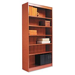 Square Corner Wood Veneer Bookcase 6-Shelf 35-38 x 11-34 x 72 Medium Cherry (ALEBCS67236MC)