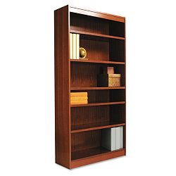 Square Corner Wood Veneer Bookcase 6-Shelf 35-38w x 11-34d x 72h Medium Oak (ALEBCS67236MO)