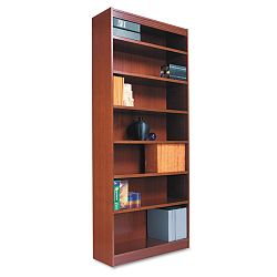 Square Corner Wood Veneer Bookcase 7-Shelf 35-38w x 11-34d x 84h Medium Oak (ALEBCS78436MO)