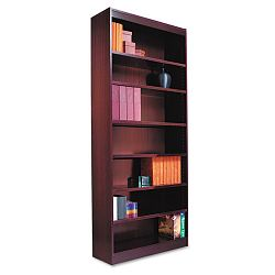 Square Corner Bookcase Wood Veneer 7-Shelf 35-38w x 11-34d x 84h Mahogany (ALEBCS78436MY)