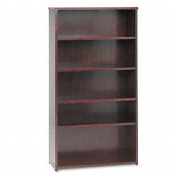 BW Wood Veneer Series Five-Shelf Bookcase 35-58w x 13d x 66h Mahogany (BSXBW2193NN)