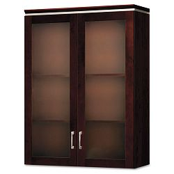 Announce Series Bookcase Hutch Glass Doors 36w x 14-34d x 48h Mahogany (HONVN614GK15NN)