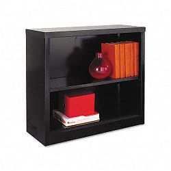 Steel Bookcase 2 Shelves 34-12w x 13d x 30h Black (ALESB623034BL)
