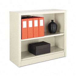 Steel Bookcase 2 Shelves 34-12w x 13d x 30h Putty (ALESB623034PY)
