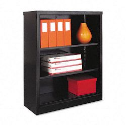 Steel Bookcase 3 Shelves 34-12w x 13d x 42h Black (ALESB624234BL)