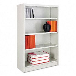 Steel Bookcase 4 Shelves 34-12w x 13d x 52h Light Gray (ALESB625234LG)