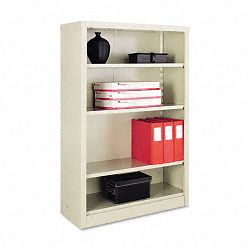 Steel Bookcase 4 Shelves 34-12w x 13d x 52h Putty (ALESB625234PY)