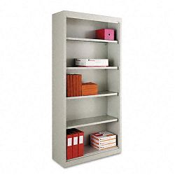 Steel Bookcase 5 Shelves 34-12w x 13d x 72h Light Gray (ALESB627234LG)