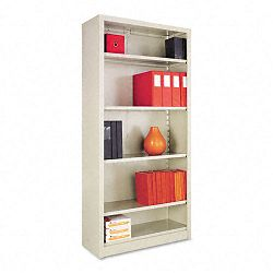 Steel Bookcase 5 Shelves 34-12w x 13d x 72h Putty (ALESB627234PY)