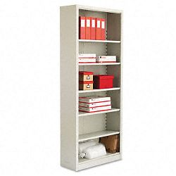Steel Bookcase 6 Shelves 34-12w x 13d x 84h Light Gray (ALESB628434LG)