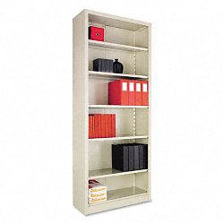 Steel Bookcase 6 Shelves 34-12w x 13d x 84h Putty (ALESB628434PY)