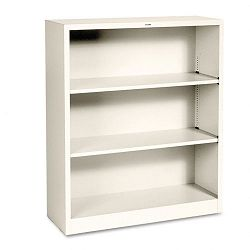 Metal Bookcase 3 Shelves 34-12w x 12-58d x 41h Putty (HONS42ABCL)