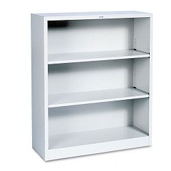 Metal Bookcase 3 Shelves 34-12w x 12-58d x 41h Light Gray (HONS42ABCQ)