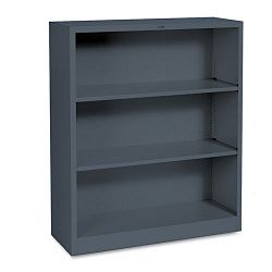 Metal Bookcase 3 Shelves 34-12w x 12-58d x 41h Charcoal (HONS42ABCS)