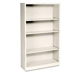 Metal Bookcase 4 Shelves 34-12w x 12-58d x 59h Putty (HONS60ABCL)