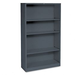 Metal Bookcase 4 Shelves 34-12w x 12-58d x 59h Charcoal (HONS60ABCS)
