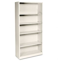 Metal Bookcase 5 Shelves 34-12w x 12-58d x 71h Putty (HONS72ABCL)