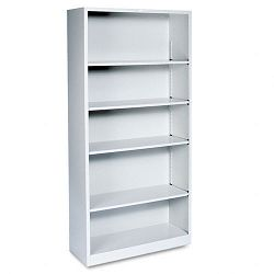 Metal Bookcase 5 Shelves 34-12w x 12-58d x 71h Light Gray (HONS72ABCQ)