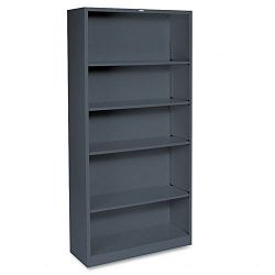 Metal Bookcase 5 Shelves 34-12w x 12-58d x 71h Charcoal (HONS72ABCS)