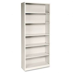 Metal Bookcase 6 Shelves 34-12w x 12-58d x 81-18h Putty (HONS82ABCL)