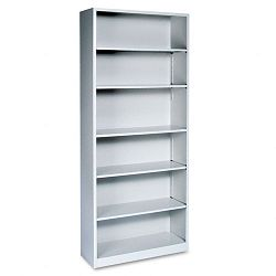 Metal Bookcase 6 Shelves 34-12w x 12-58d x 81-18h Light Gray (HONS82ABCQ)