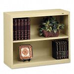 Metal Bookcase 2 Shelves 34-12w x 13-12d x 28h Sand (TNNB30SD)