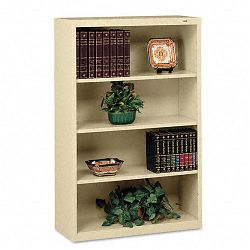 Metal Bookcase 4 Shelves 34-12w x 13-12d x 52-12h Sand (TNNB53SD)