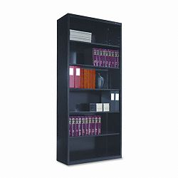 Metal Bookcase 6 Shelves 34-12w x 13-12d x 78h Black (TNNB78BK)