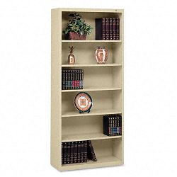 Metal Bookcase 6 Shelves 34-12w x 13-12d x 78h Sand (TNNB78SD)