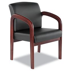 Reception Lounge Series Ready-To-Assemble Guest Chair MahoganyBlack Leather (ALERL43ALS10M)